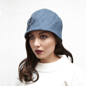 Women s Lightweight Lambswool Cloche Hat -  Sonia  in storm blue twill e0ae602cc7ed
