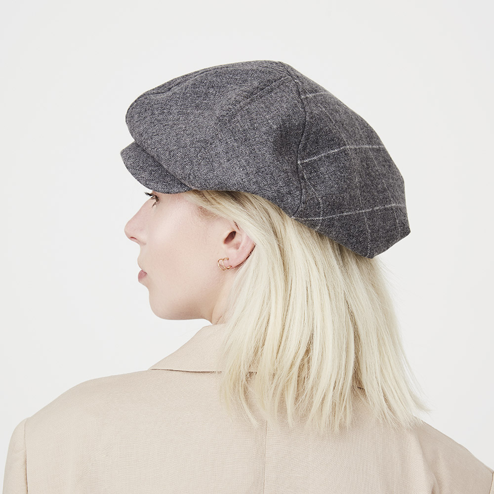 'PB' beret-cap in grey lambswool