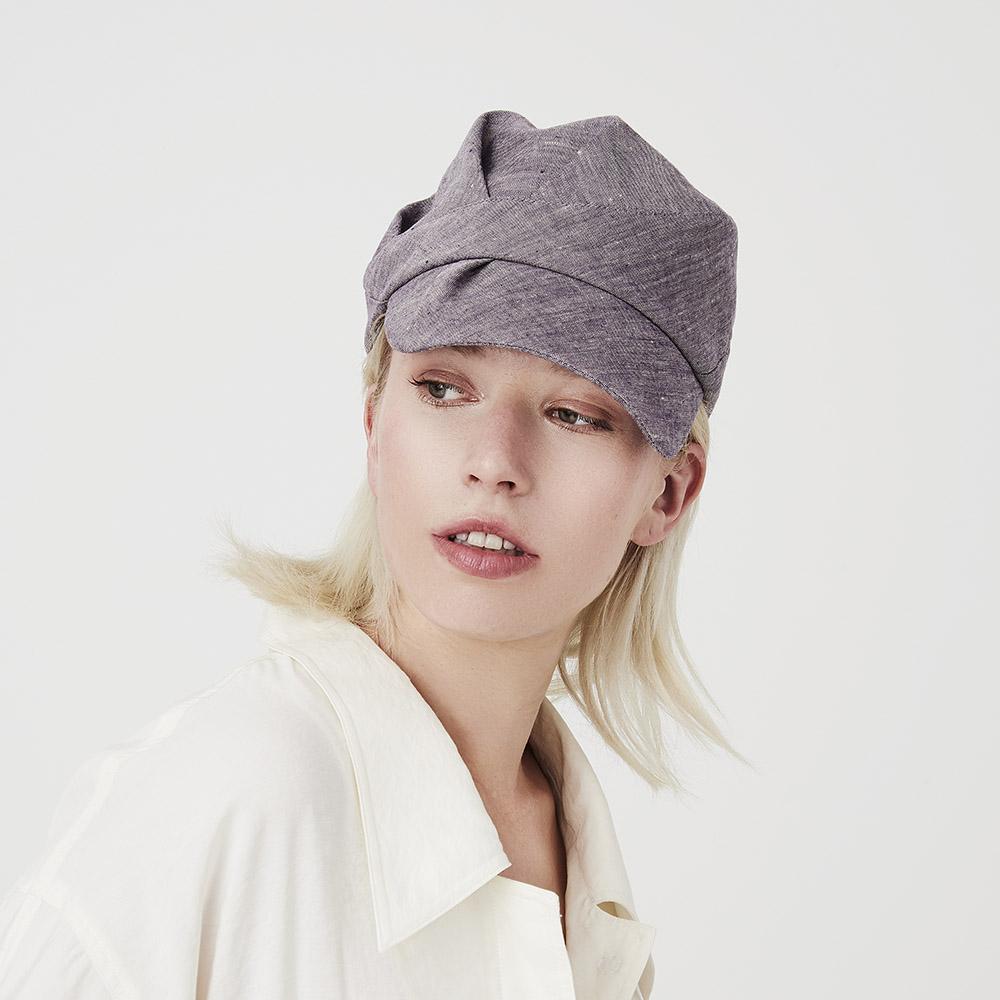 'Inge' peaked cap in violet-fade Irish linen