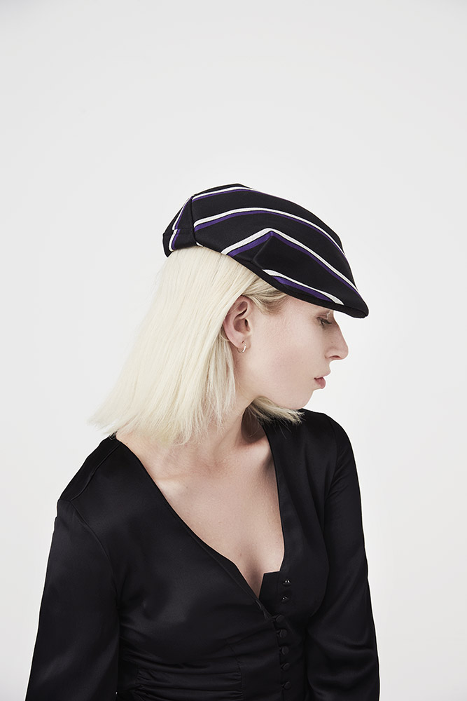 'Shelvey' flat cap in black blazer stripe wool-blend