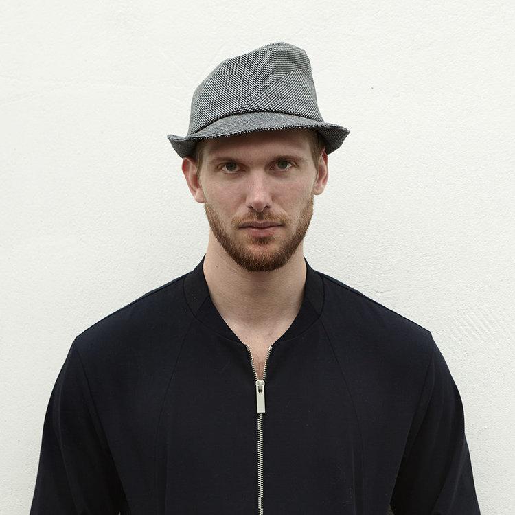 Cotton Trilby Hat for Men -  Sedley  in Navy White Herringbone - By 755670ea958d