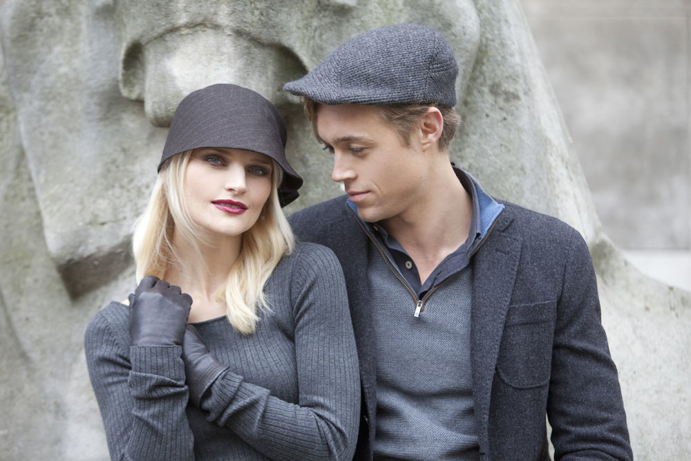 'Charleston' cloche hat in dark brown stripe wool