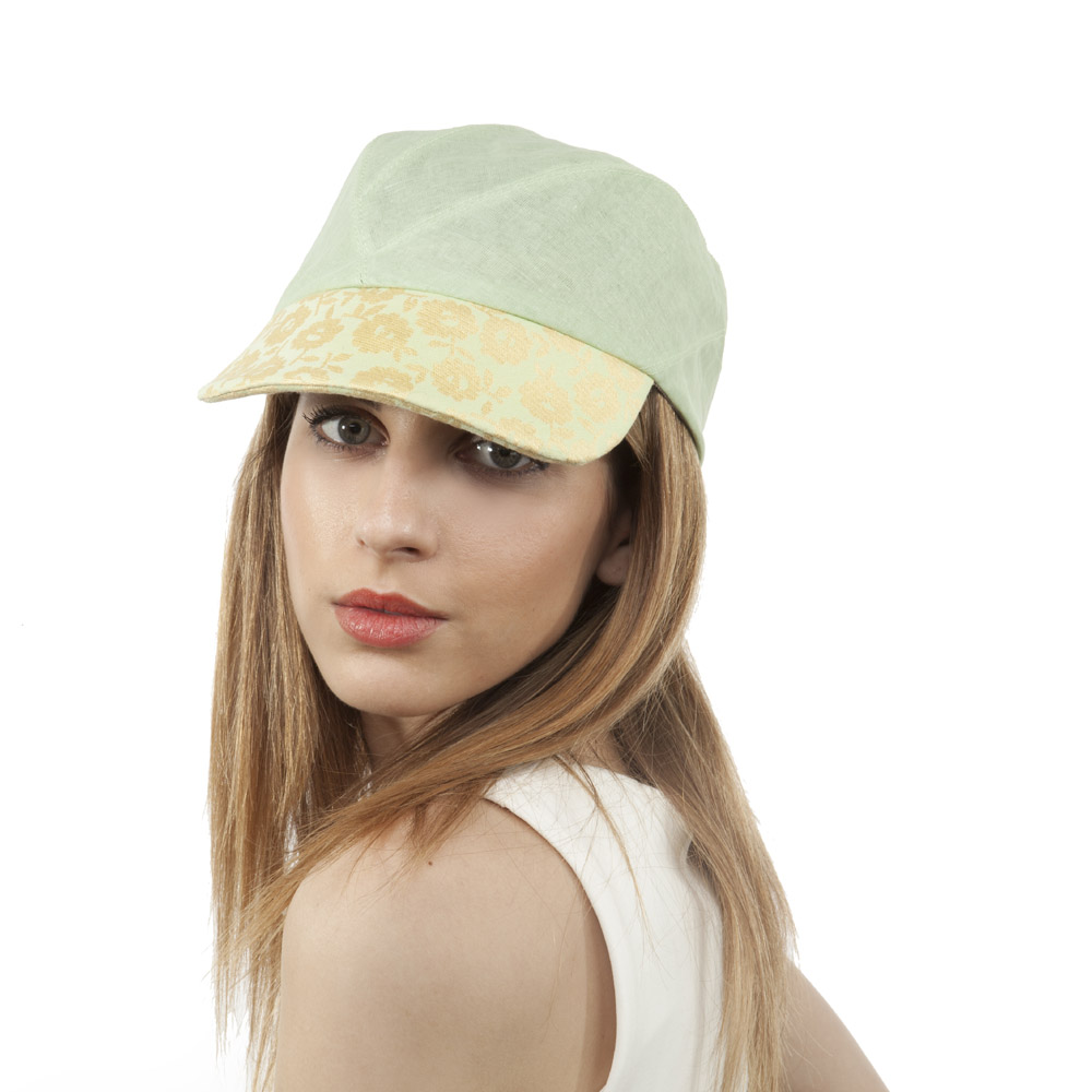 'Alonso' peaked cap in cotton organdie with silk peak