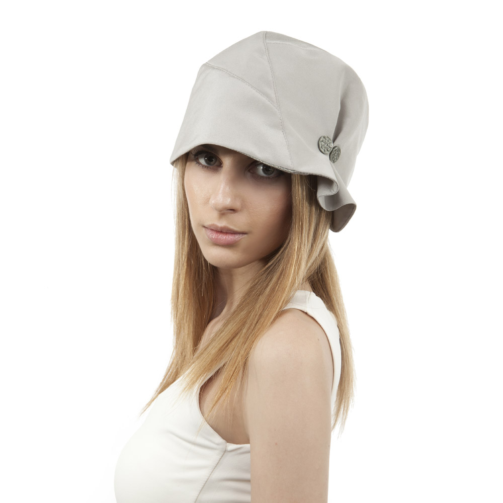 'Charleston' cloche hat in warm grey silk