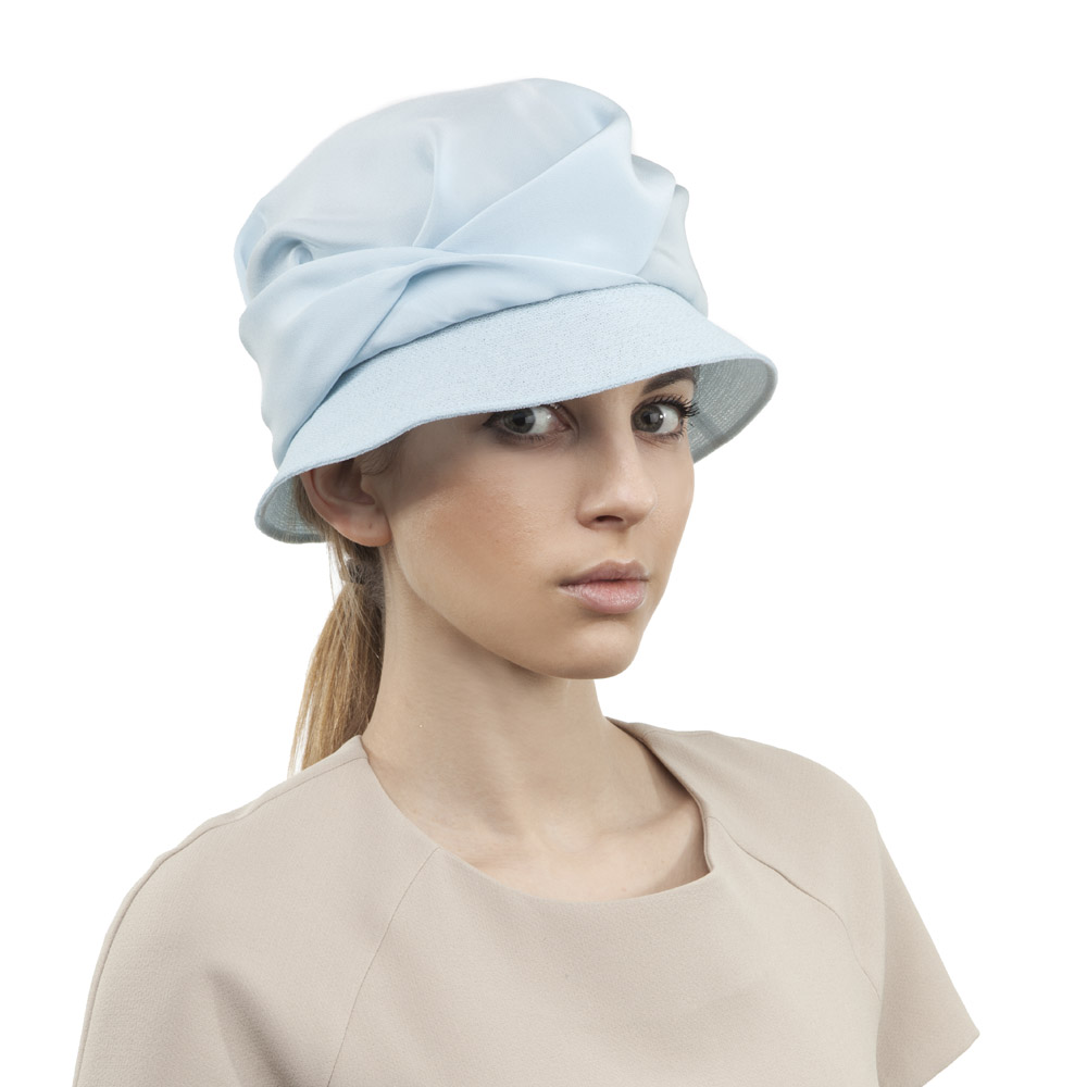 'Rosetta' cloche hat in blue silk & stitched net