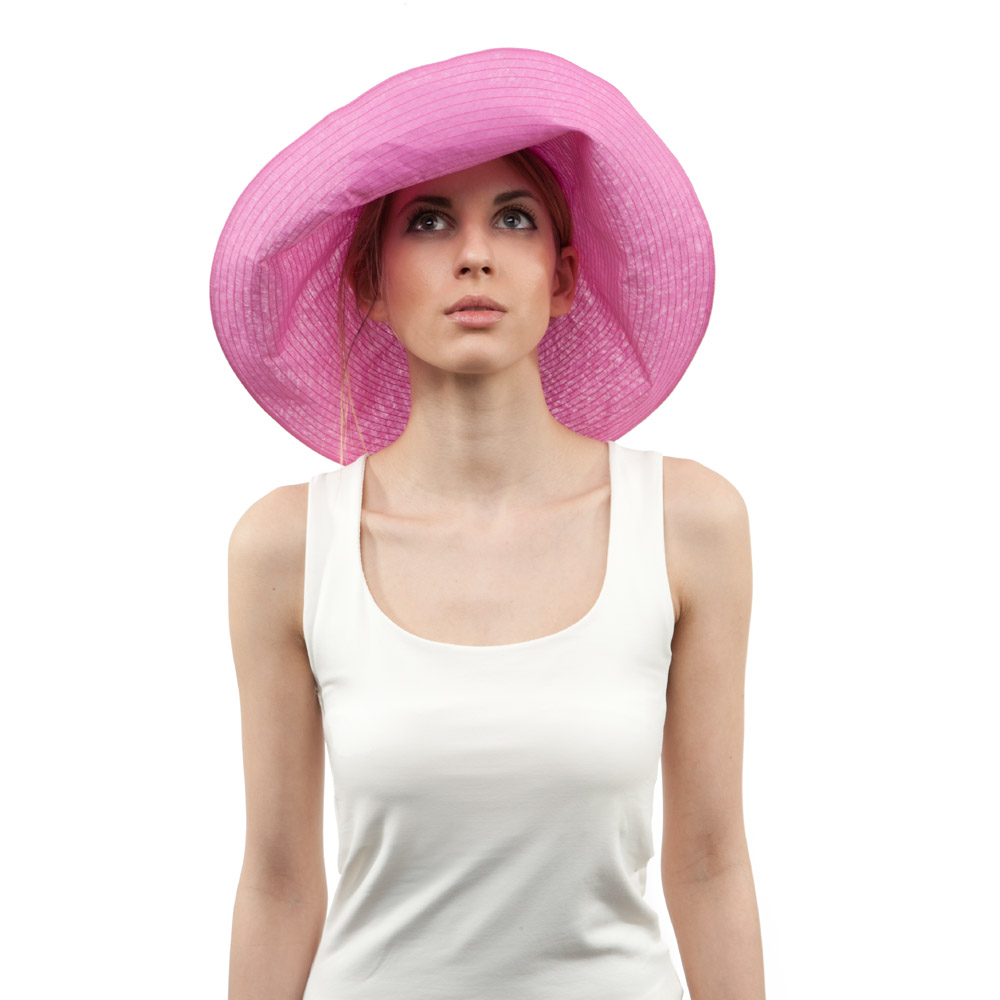'Alix' sun hat in pink cotton organdie