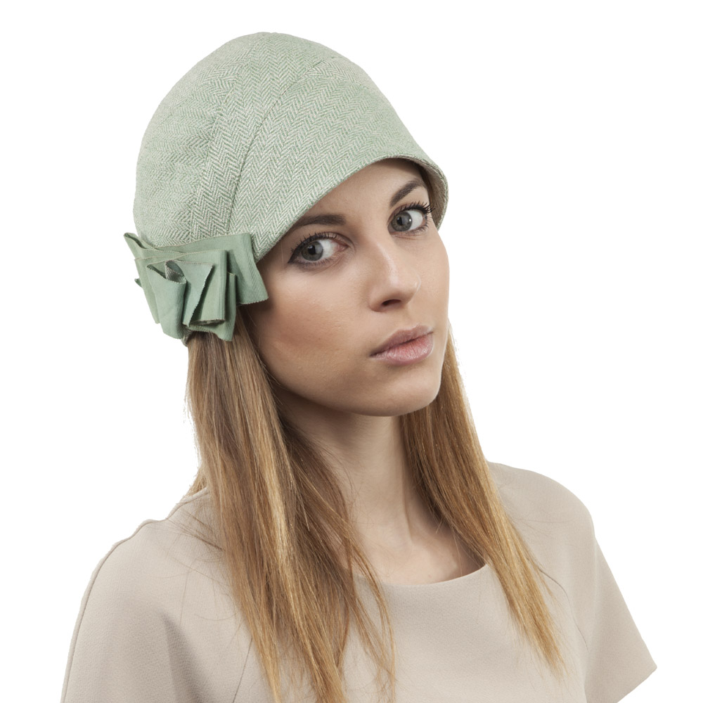 'Peppy' cloche hat in green silk tweed with vintage petersham ribbon