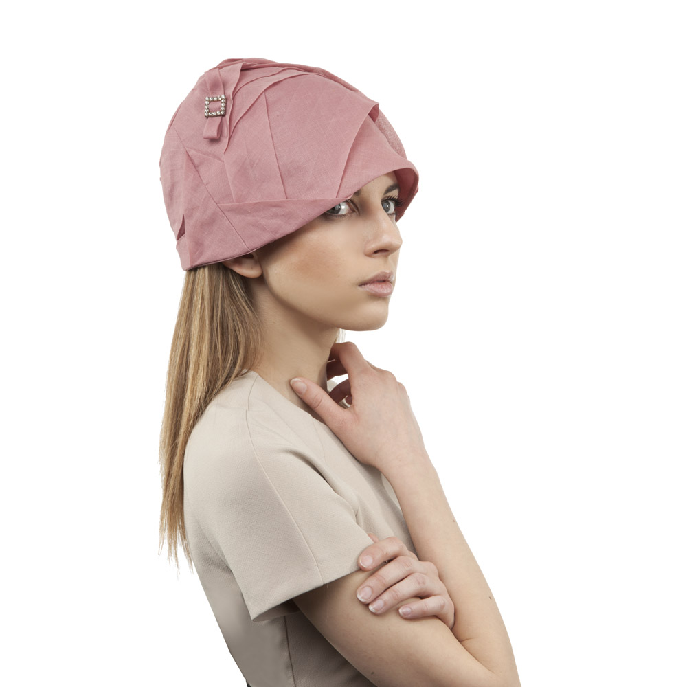 'Marianne' cloche hat in dusty pink cotton organdie