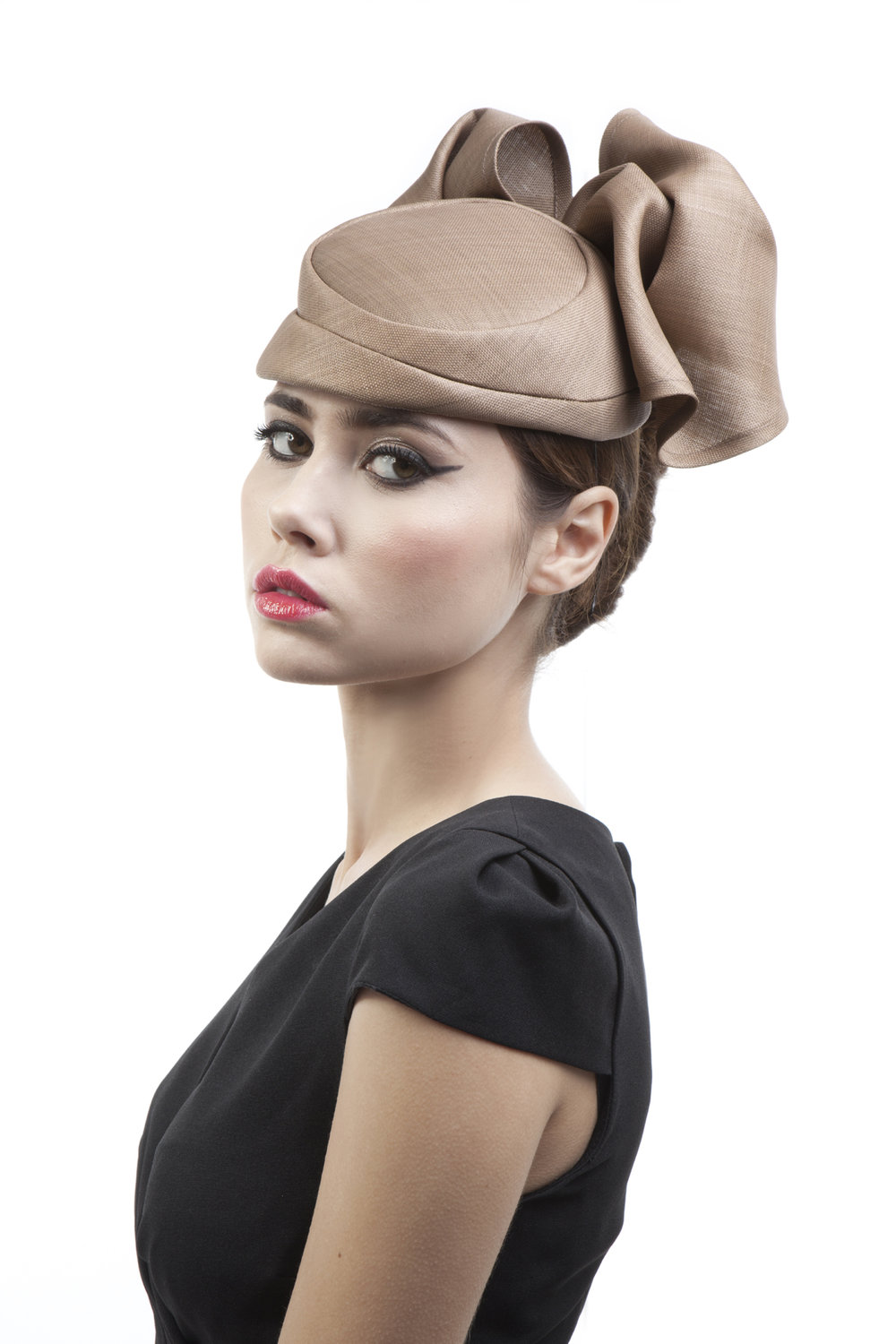 'Samantha' pillbox hat in coffee laize