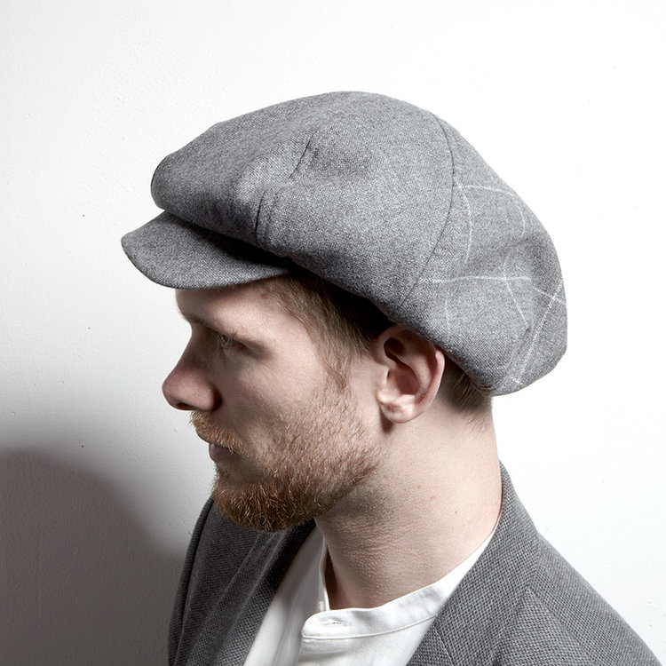 Lambswool Large Baker Boy Style Cap for Men -  PB  in Grey — Karen ... 60a80601166