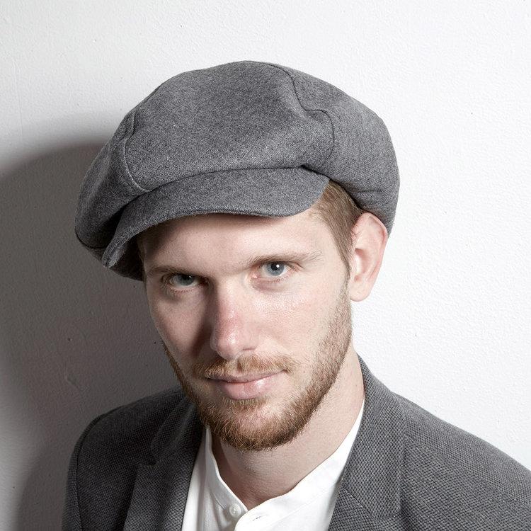 c4852e21 Lambswool Large Baker Boy Style Cap for Men - 'PB' in Grey — Karen ...