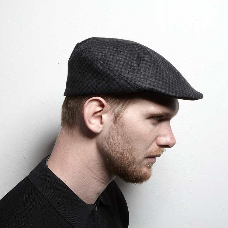 2a1fa7059e8 Lambswool Flat Cap for Men -  Murray  in black check — Karen Henriksen