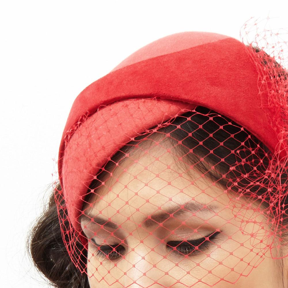 Claudette, red cocktail hat by Karen Henriksen