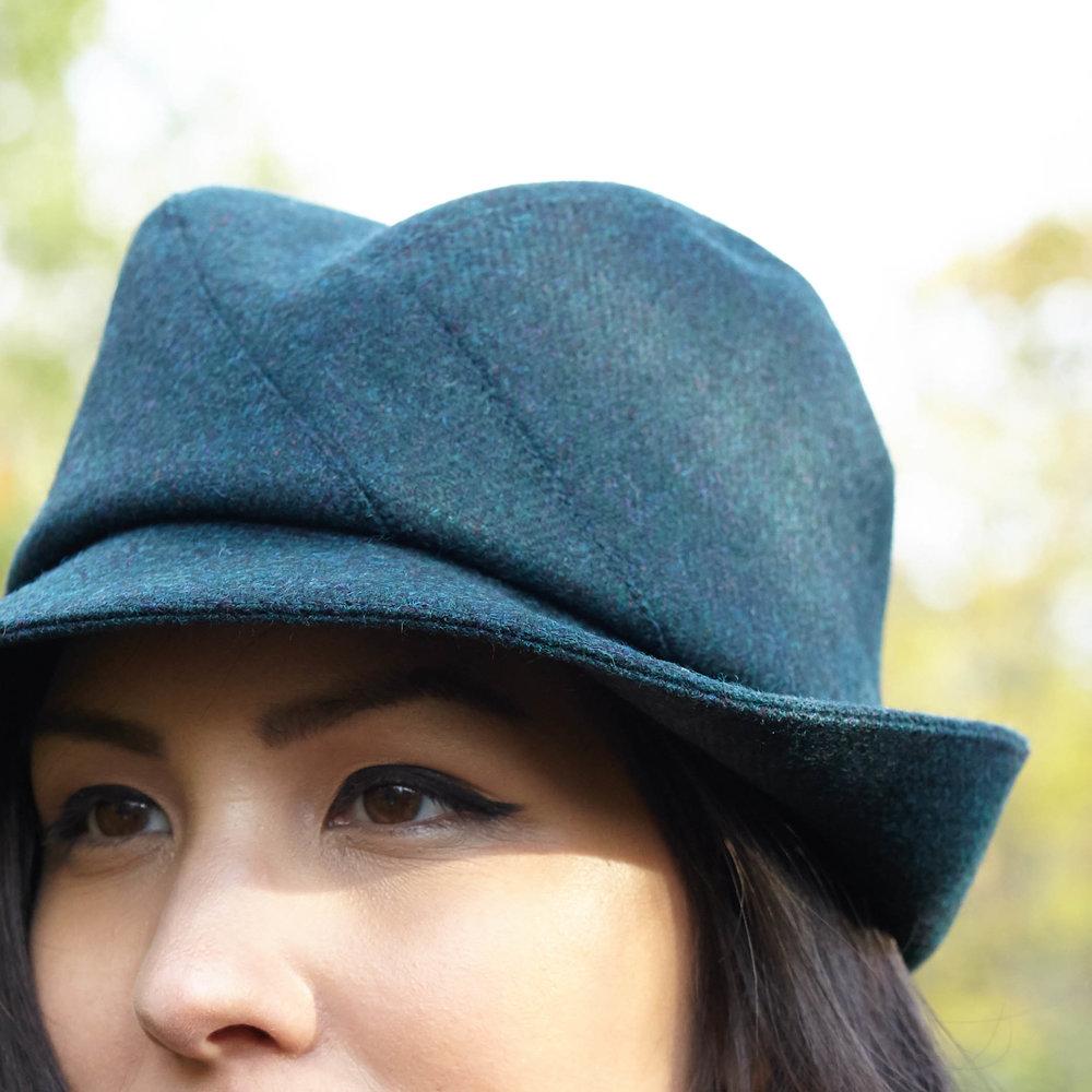 Broadwick, women's fedora hat in teal by Karen Henriksen