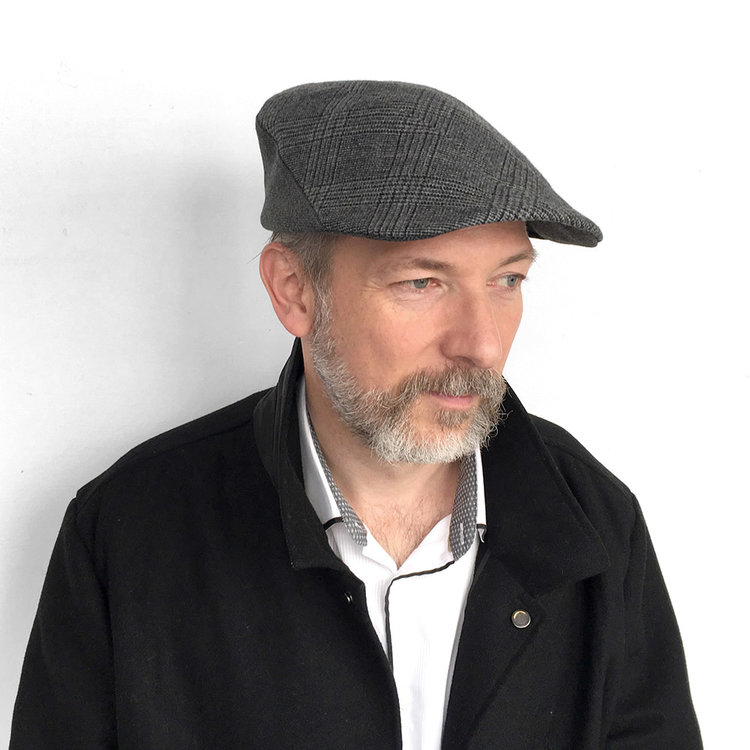 0d1baabb277ab Wool Cashmere Flat Cap for Men -  Lucas  in blue grey check with grey wool