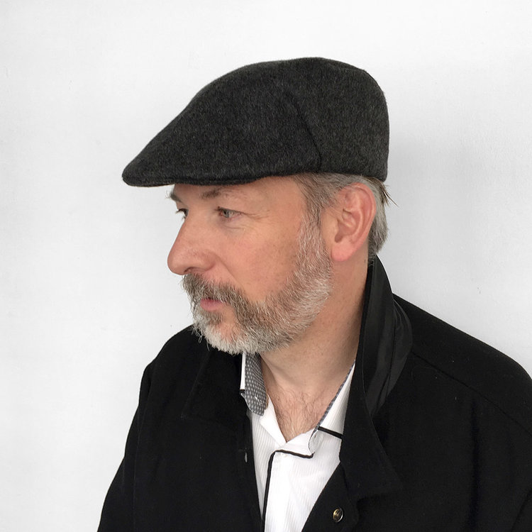 Luxury Brushed Wool Cashmere Flat Cap for Men -  Otley  in charcoal ... f37be96ef37