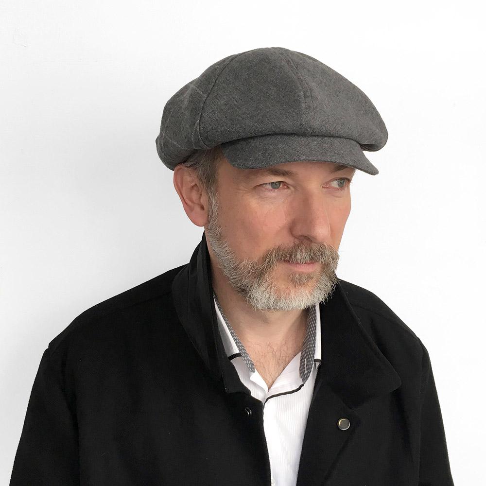073e863a Lambswool Large Baker Boy Style Cap for Men - 'PB' in Grey — Karen Henriksen