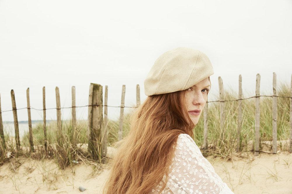 Aimee  beret in natural herringbone linen/cotton