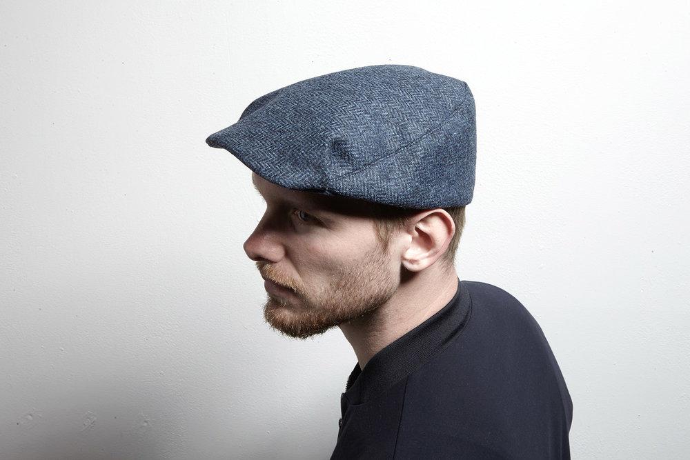 Casey , herringbone wool tweed flat cap for men
