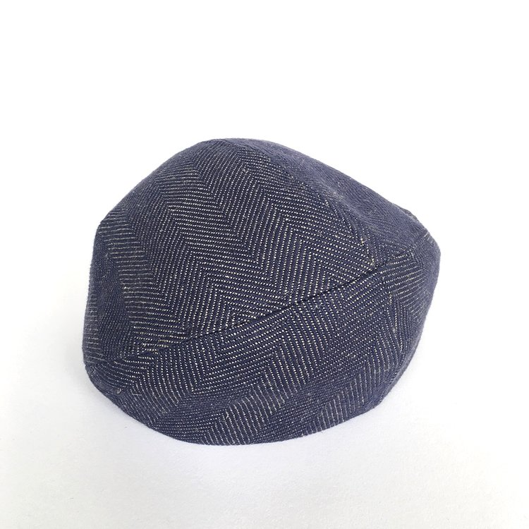 22acef2caddce Women s Linen Cotton Beret -  Aimee  in violet herringbone by Karen  Henriksen