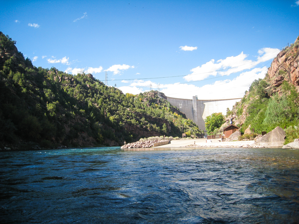 We were the only ones putting on the river at the later time of day, so we had a beautifully empty river ahead of us. This is the view behind us as we started down from the dam.