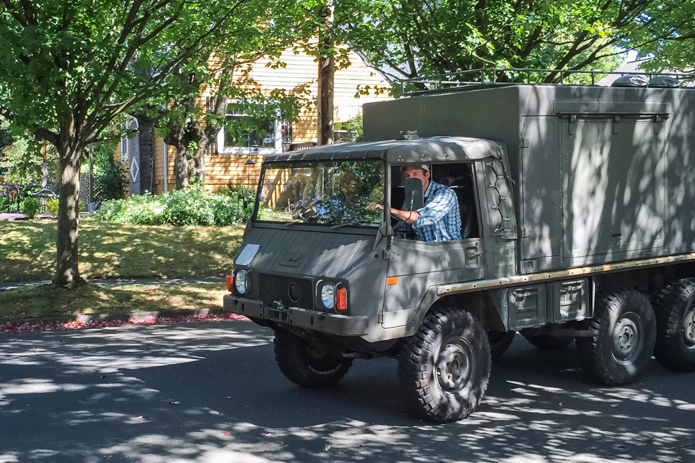It drives like a completely mechanical Austrian army truck. OHMYGOSHSOMUCHFUN.