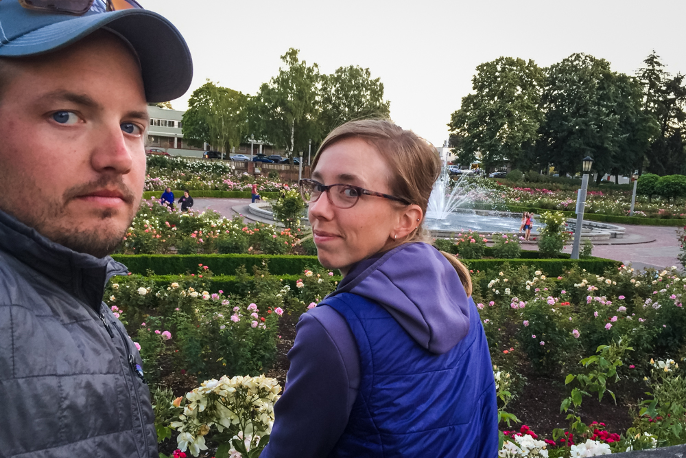 The rose garden went nearly completely unappreciated that night. Portland's parks (or at least this one) are beautiful.