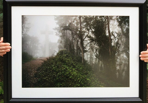 A 16 X 24 FRAMED AND MATTED PRINT OUR CHURCH BOUGHT FROM CHELSEA TO HELP FUND OUR TRIP!