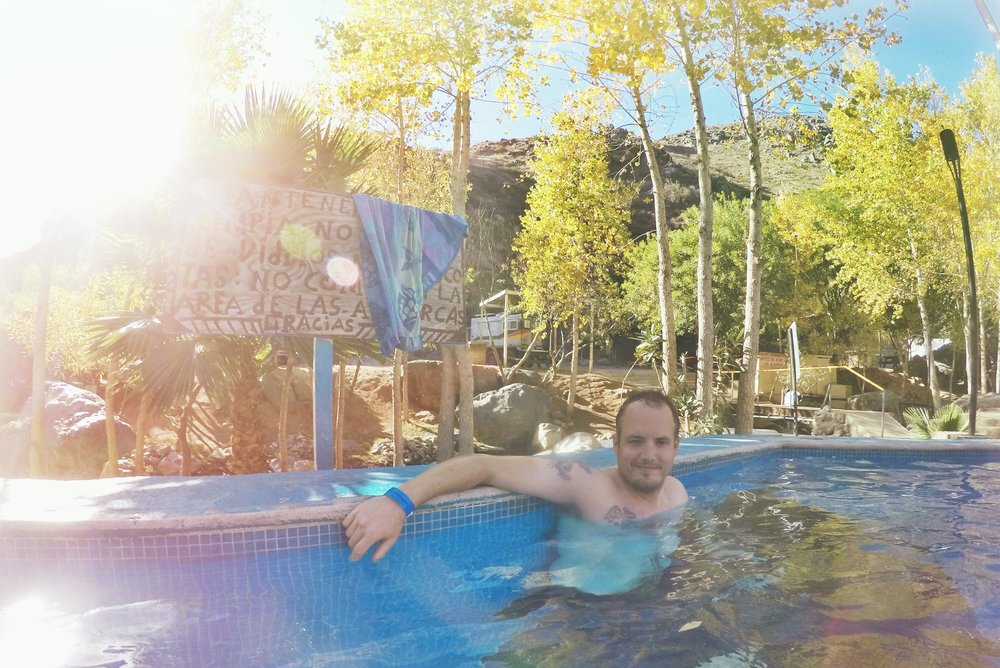 Enjoying the hot springs pools.