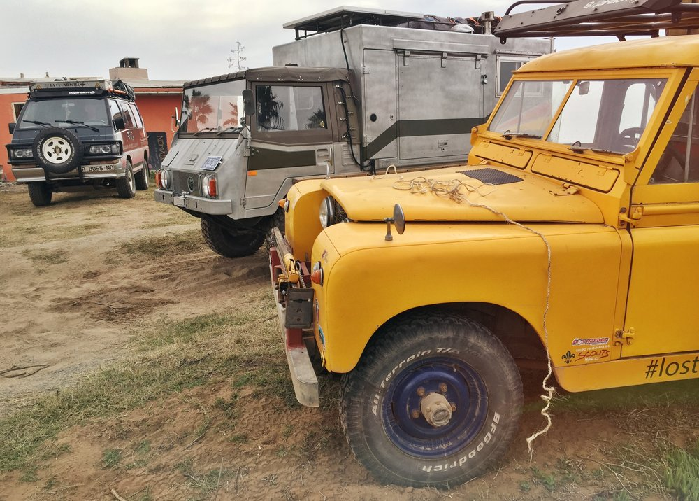 From right to left: Mauricio's 1961 Land Rover 2A, Little Foot the Pinzgauer, and the Cucaracha of Viajeros4x4x4 fame.
