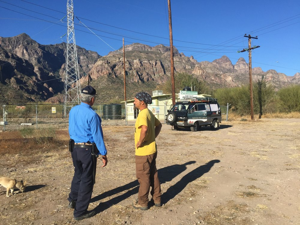 Pablo arranged for the electrical station's gaurd to watch the van, to protect from the bandits, which had been reportedly breaking into cars at the trailhead.