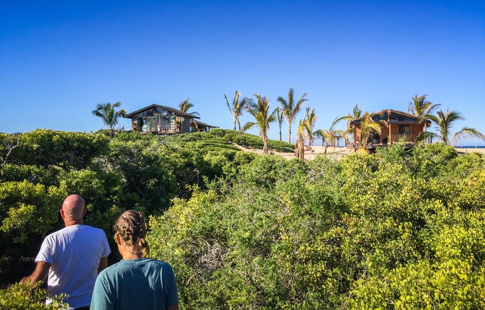 Walking through the Mangroves to his house for a property tour.