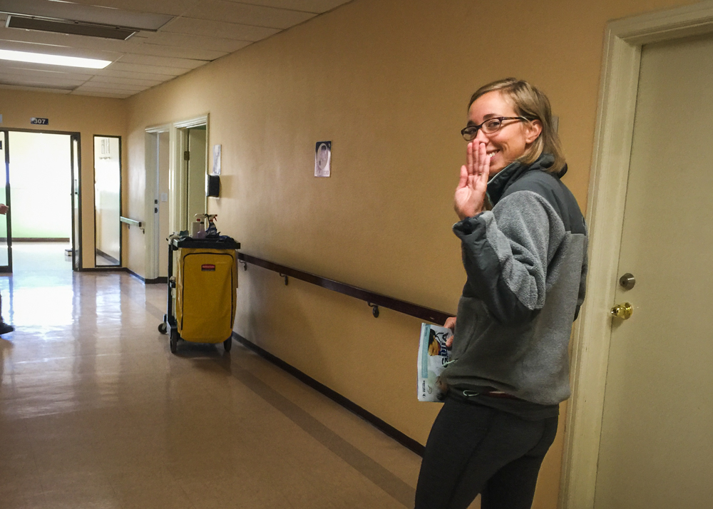 Walking out of the hospital! (Don't worry, they made me take a wheelchair after Christian took a photo of me shuffling triumphantly out of my hospital room.)