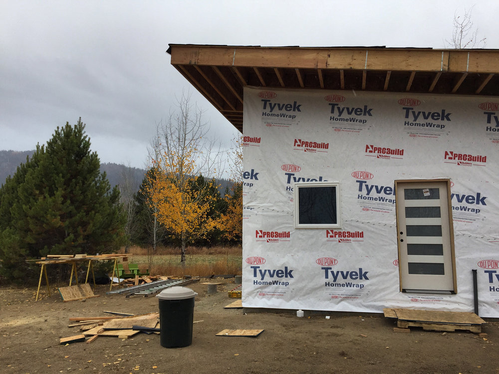 The exterior, close to putting on siding and a roof.