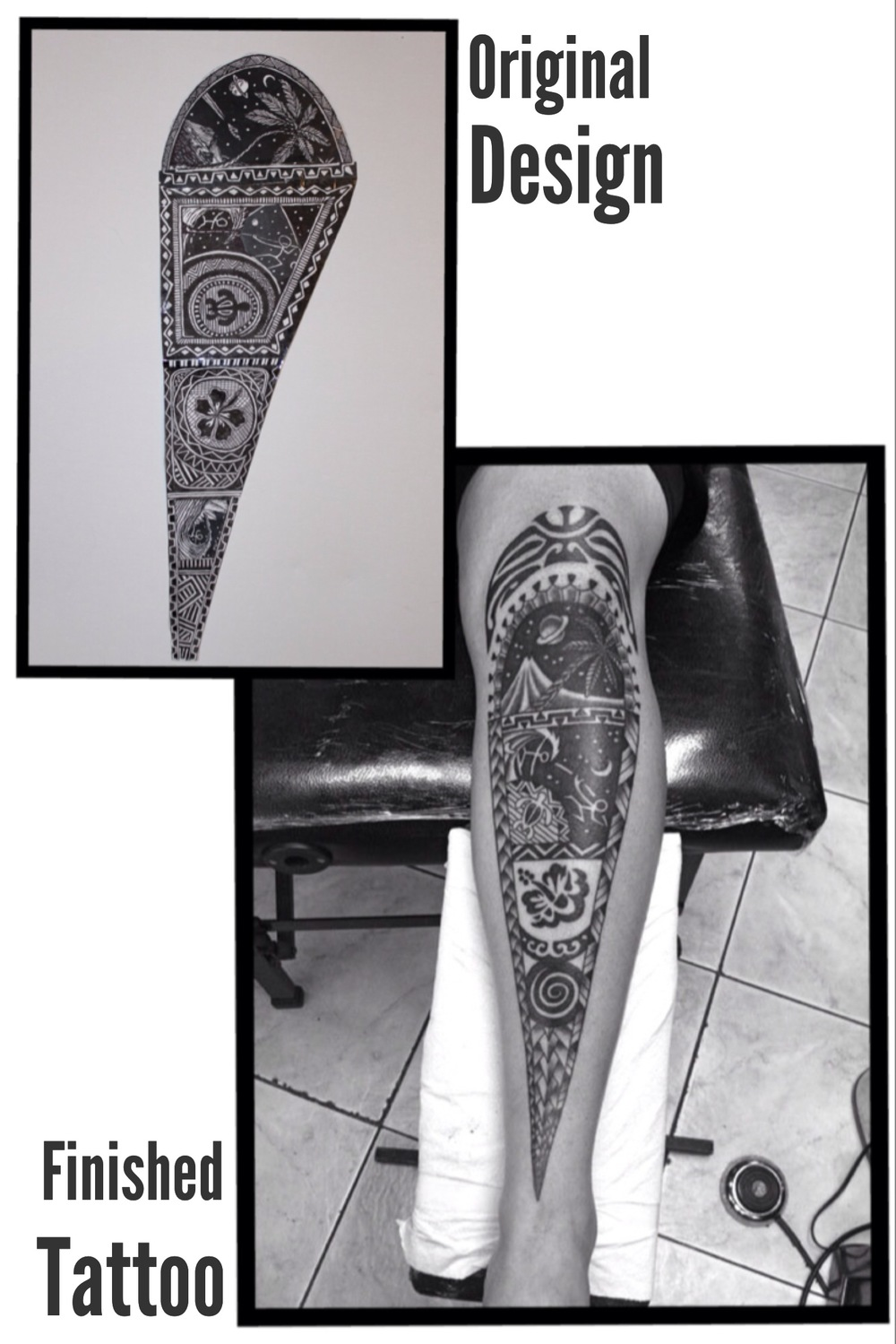 *The original design shown for this tattoo was a collaboration with a local artist in Hawaii.