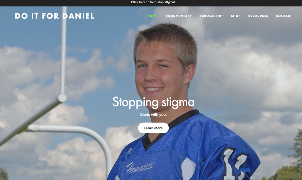 Do It For Daniel Olson website to raise mental health awareness, suicide prevention and to reduce depression stigma