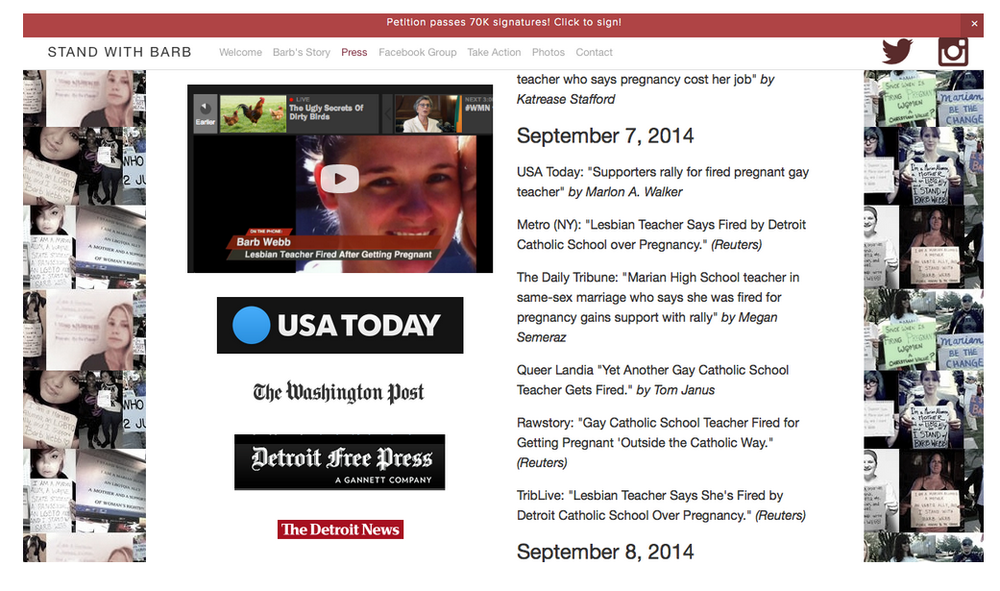 Press page for the Stand with Barb Webb website for pregnant, gay teacher who was fired from a Michigan catholic school