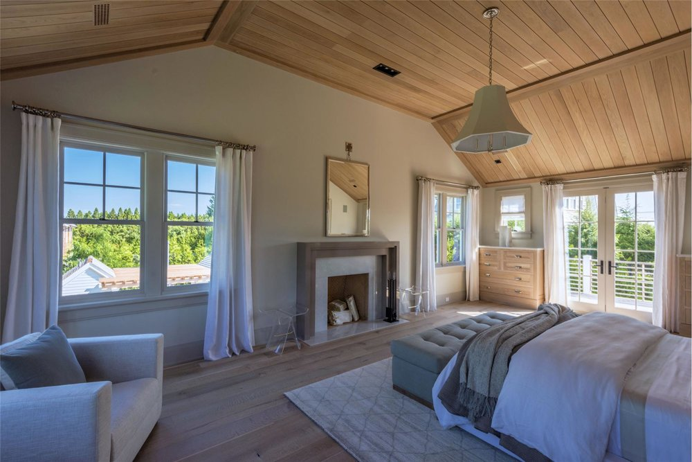 The Master Bedroom Features Double Height Cedar Paneling On Ceiling Our Goal Was To Make It Grand Yet True Simple Nature Of A Modern Farmhouse