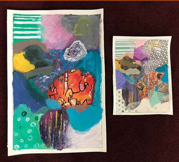 Anuva has created a bold and beautiful abstract painting using her collage as a reference. She has used expressive color, shapes, textures and patterns.