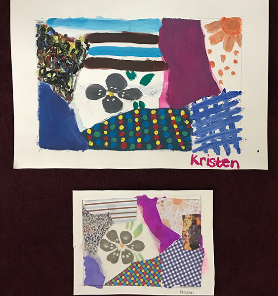 Kristen has used her collage as a reference to create a painting using bold, expressive patterns, shapes and design.