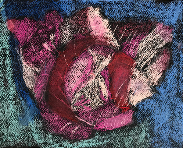 Lamiha has created a dramatic pastel drawing of a flower by using good contrast of color.