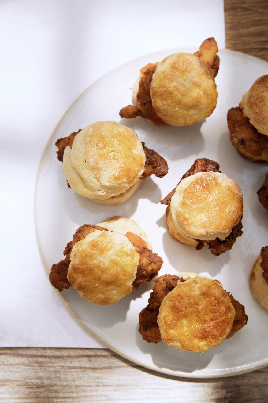 Nate Berkus Summer Party-Fried Chicken Biscuit sandwiches