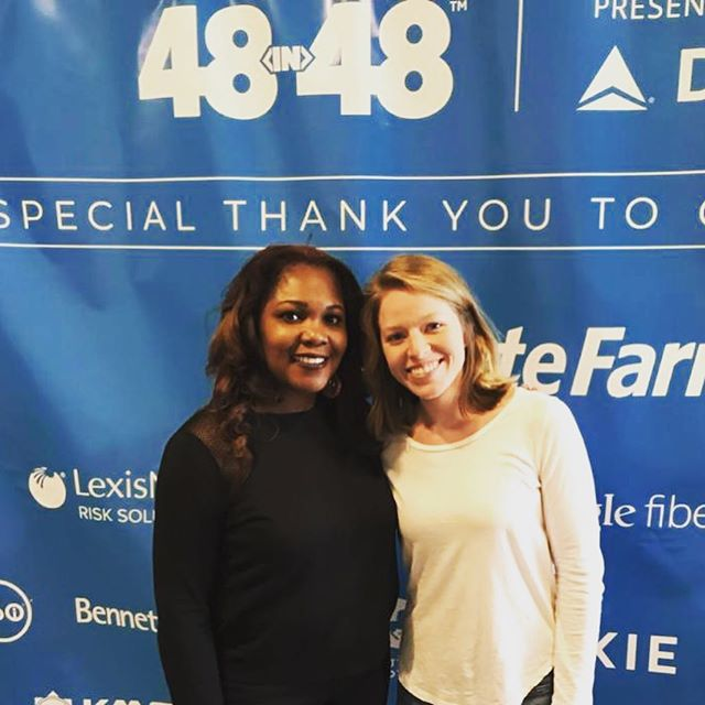 Kim and Stephanie, representing Green Gate last weekend at @48in48, where volunteer designers build websites for 48 nonprofits in 48 hours . . .  #48in48atl #nonprofit #volunteer #giveback #socialentrepreneur #communityengagement