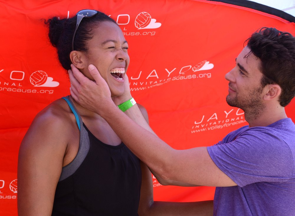 Star of Days of Our Lives, Billy Flynn, teaches Olympian Falyn Fonoimoana the 'Soap Smolder' at the 2016 Jayo Invitational Celebrity Pro-Am