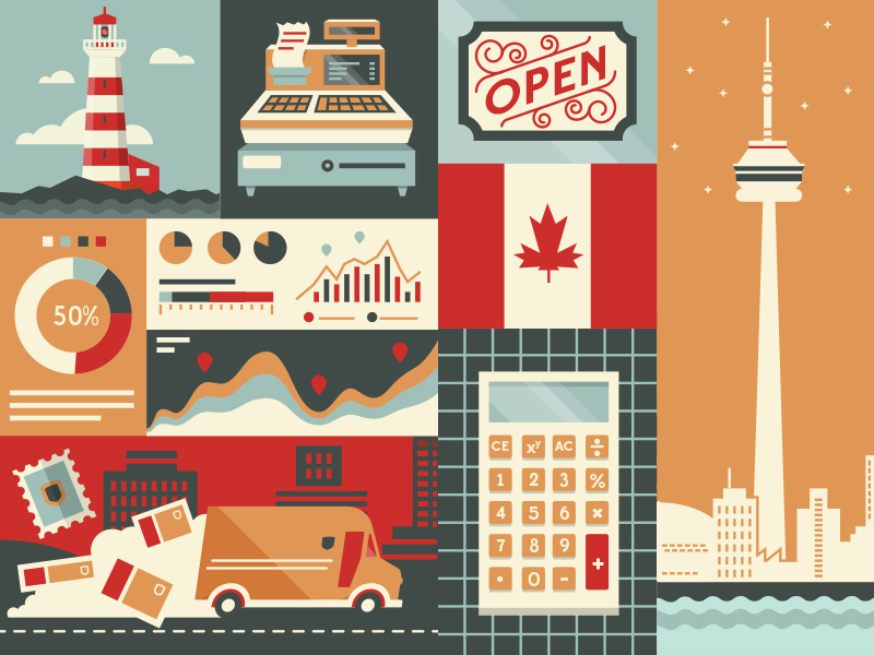 Selection of visuals for UPS Canada's small business Twitter account