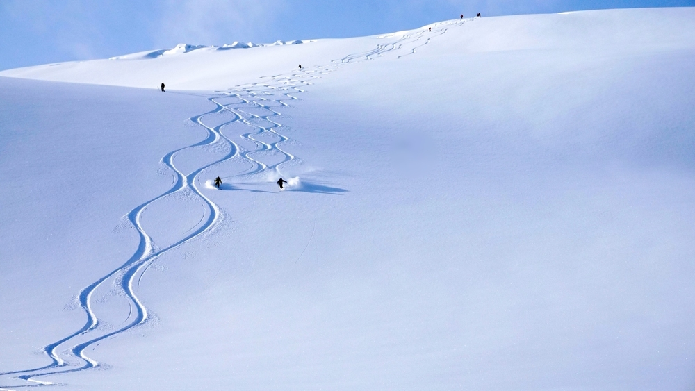 Ski touring in the Pyrite area of the Adamants Range, Selkirks B.C. Canada