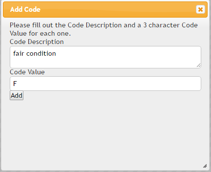 Fill out the add code modal and click add to create a new code
