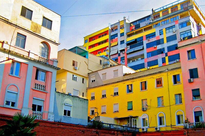 albania-tourism: Colorful buildings in Tirana, Albania