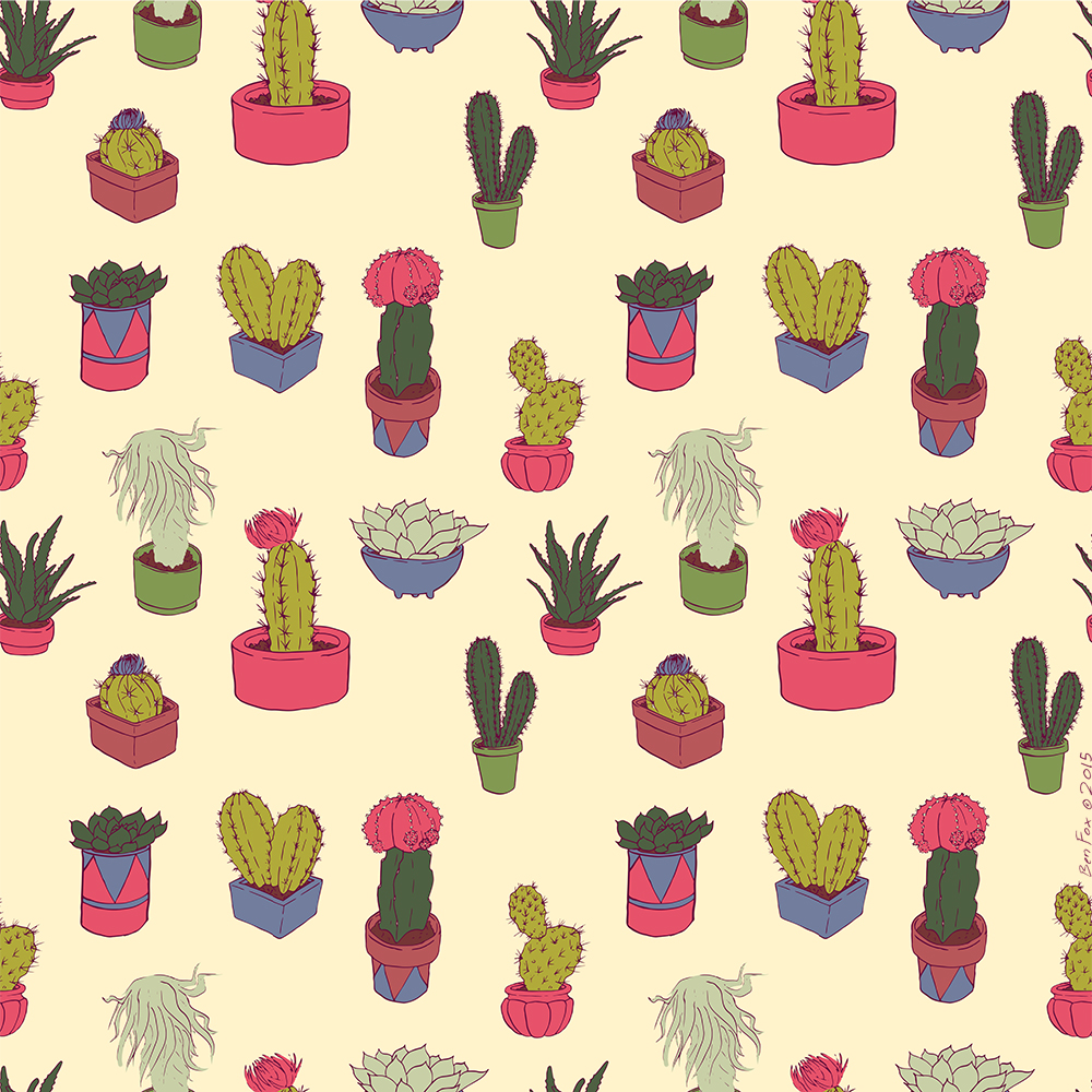 eatsleepdraw: Succulent pattern by Ben Fox