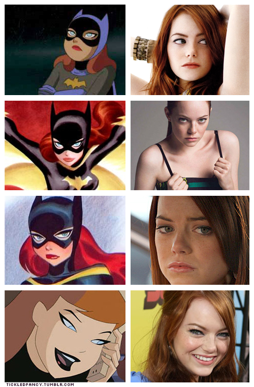 rosalarian: tickledfancy: Can somebody please make a Batgirl movie with Emma Stone as Barbara Gordon? She's smart, funny, spunky, and I totally believe she could kick some villain ass. Plus I personally feel like her resemblance to Bruce Timm's Batgirl is uncanny. I approve this message.